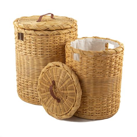 Small Round Wicker Laundry Hamper - The Basket Lady.