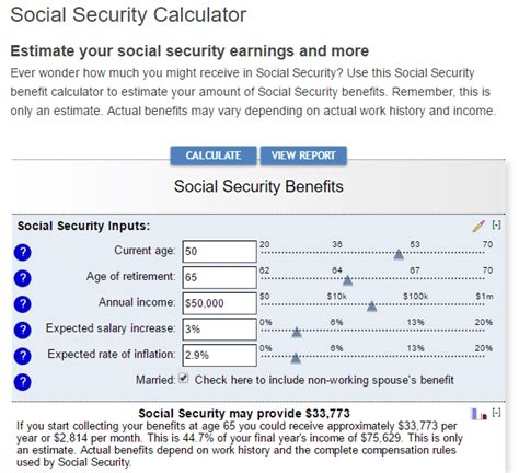 @ Social Security Retirement Benefit Calculation.