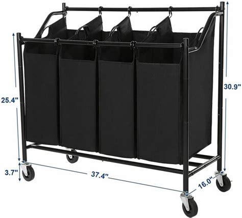 Songmics 4 Bag Chrome Rolling Laundry Sorter Cart Heavy Duty Laundry Room Organizer Hamper Basket.