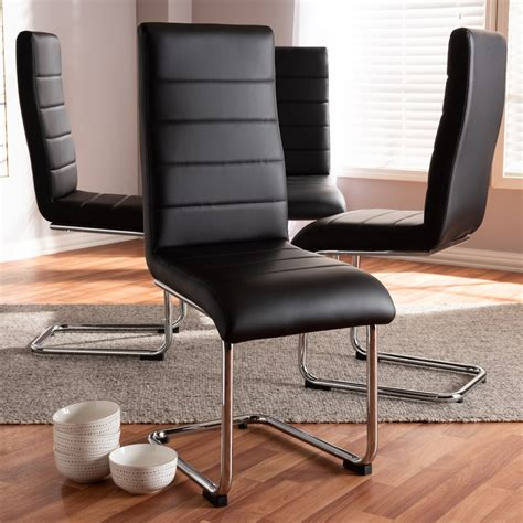 Special Prices On Curve Faux Leather Dining Chair Black.