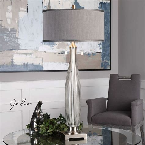 Spectacular Deals On Coloma Gray Glass Table Lamp.