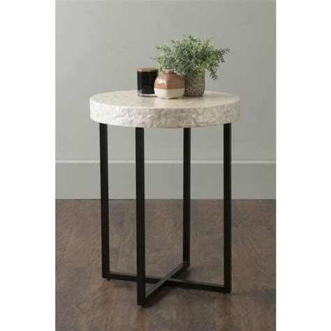 Spectacular Deals On Round Capiz Accent Table Natural.