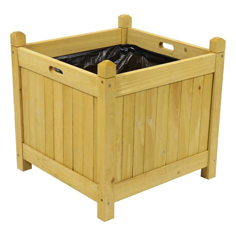 Square Wooden Flower  Plant Herb Planters Boxes  Ebay.