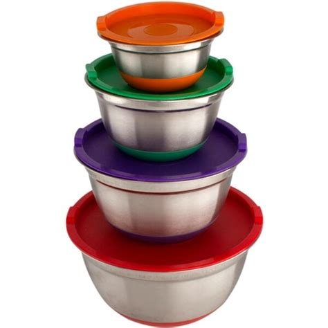 Stainless Steel Mixing Bowls German Design 4 Piece Set Silicone Base .