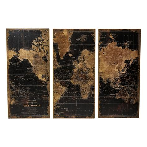 Stanford World Map Wall Panels Set Of 3 - Contemporary .