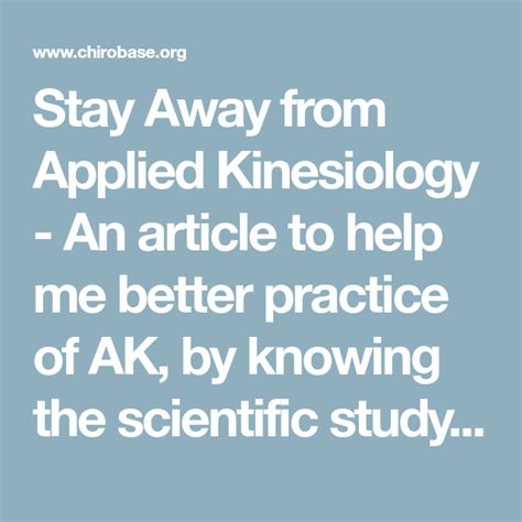 Stay Away From Applied Kinesiology - Chirobase.