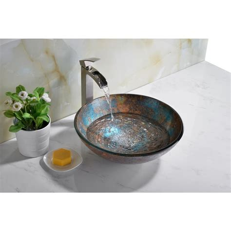 Stellar Series Deco-Glass Vessel Sink In Emerald Burst - Anzzi.