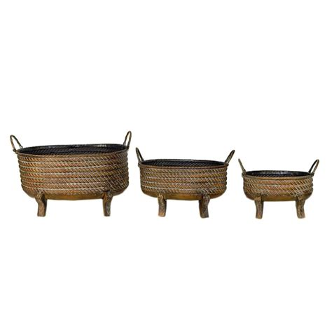 Striking 3 Piece Metal Planter Brown - Bisonoffice Com.