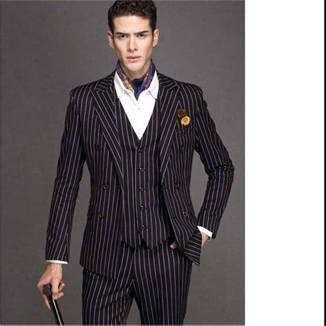 Stripe Peak Lapel Black Suit Men's