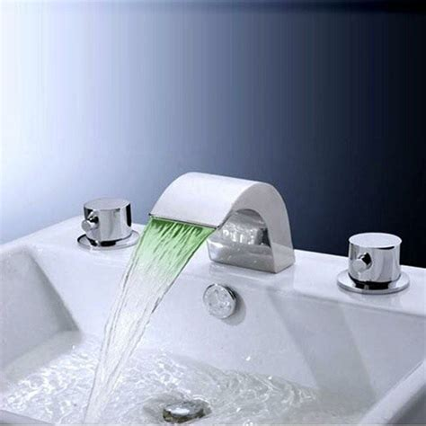 Sumerain Widespread Led Waterfall Bathroom Sink Faucet .