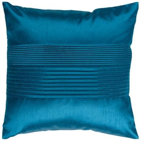 Surya Center Pleated 18 Square Teal Throw Pillow - V2955 .