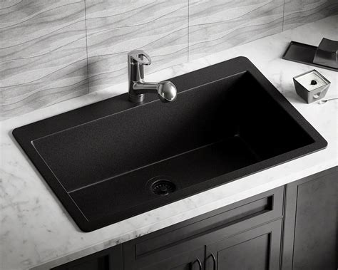 T848-Black Large Single Bowl Topmount Trugranite Sink.