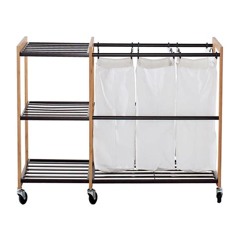 Trinity 3-Bag Bamboo Laundry Station Bronze From Houzz .