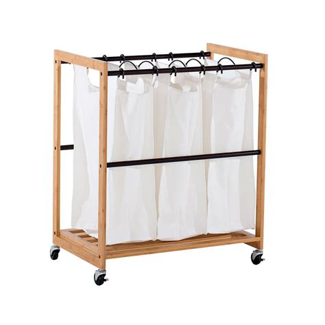 Trinity Ecostorage 3-Bag Bamboo Laundry Cart   Bronze .