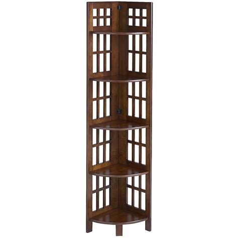 Tall Wooden Corner Shelf