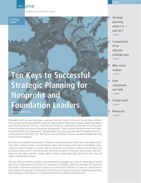[pdf] Ten Keys To Successful Strategic Planning For Nonprofit And.