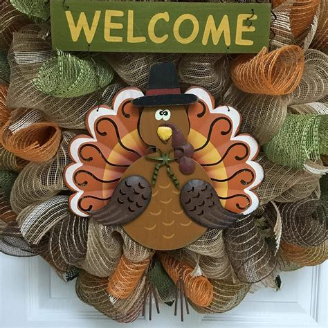 Thanksgiving Wreath With Thankful Accent Handmade Deco .