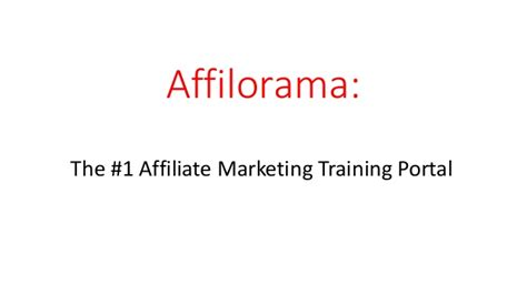 @ The 1 Affiliate Marketing Training Portal.