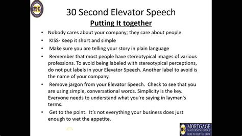 [pdf] The 30 Second Elevator Speech.
