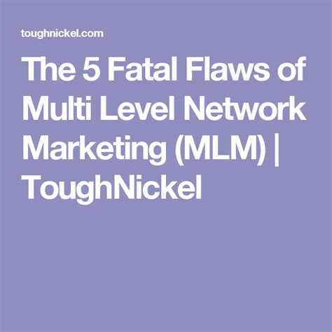 The 5 Fatal Flaws Of Multi Level Network Marketing (mlm.