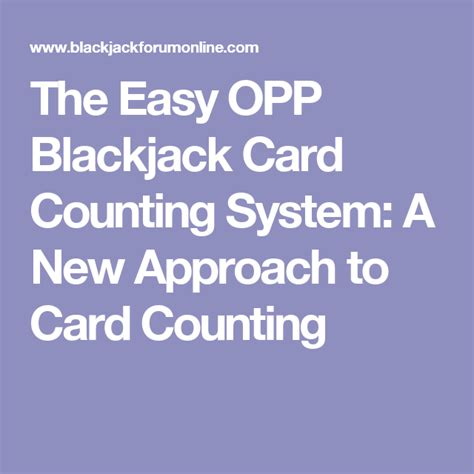 @ The Easy Opp Blackjack Card Counting System A New .