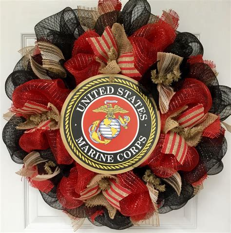 The Few The Proud The Marines Handmade Deco Mesh Wreath .