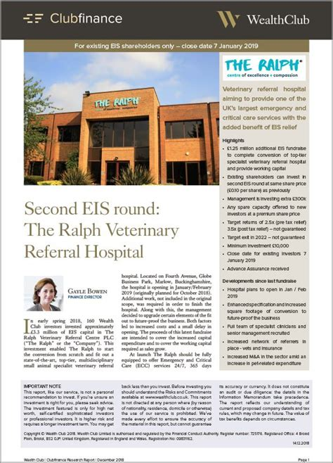 [click]the Ralph Veterinary Referral Centre - Eis Offer - Wealth Club.