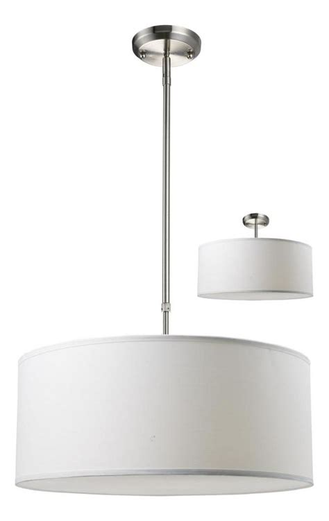 Three Light Brushed Nickel White Linen Shade Drum Shade .