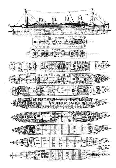 Titanic Deck Plans Blueprints