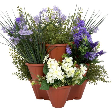 Trademark Pure Garden Stackable Planters Set Of 3 From .