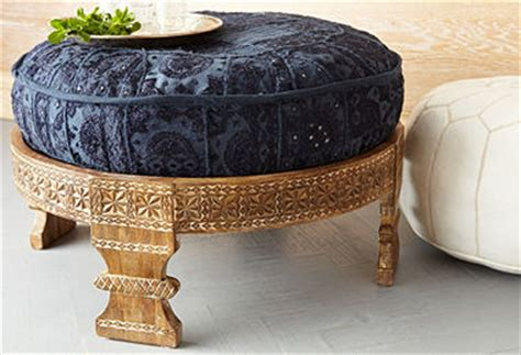Traditional Indian Carved Footstool From India Known As A .