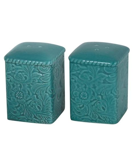 Turquoise Savannah Salt And Pepper Shaker   Rustic .