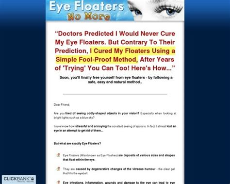 Tutorials Eye Floaters No More ~ New Niche With High Conversions.