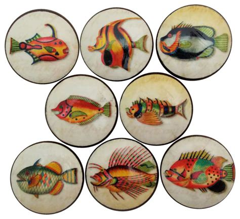 Twisted R Design 8 Piece Set Colorful Sea Shells Cabinet .