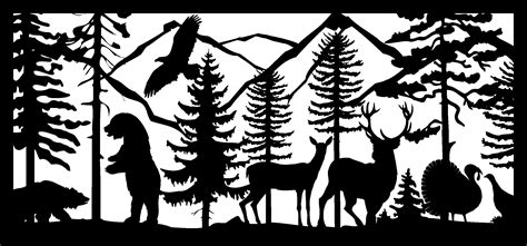 Two Bears Eagle Two Deer And Turkeys Panel 28 X60 .