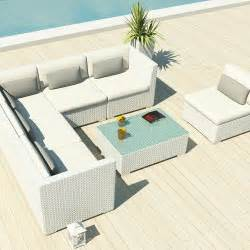 Uduka Outdoor Sectional Patio Furniture White Wicker Sofa .