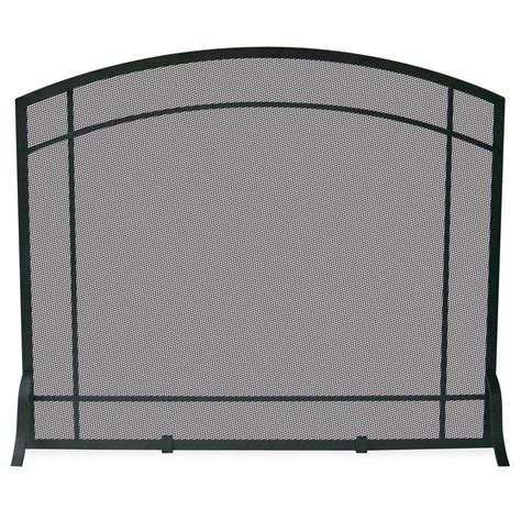 Uniflame Black Wrought Iron Single-Panel Fireplace Screen .