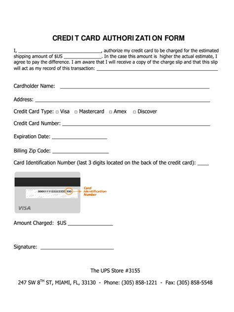 Ups Store Credit Card Authorization Form