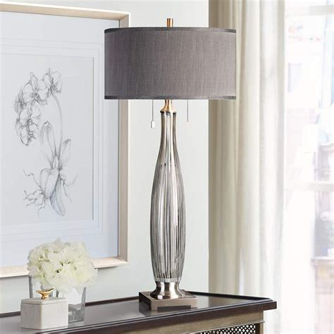Uttermost Coloma Smoke-Gray Striped Glass Table Lamp .