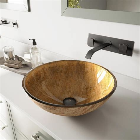 Vigo Glass Vessel Sink In Amber Sunset With Titus Wall .