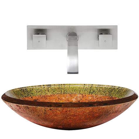 Vigo Janus Glass Vessel Bathroom Sink And Titus Wall Mount .