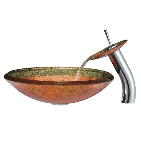 Vigo Janus Glass Vessel Sink And Waterfall Faucet Set In .