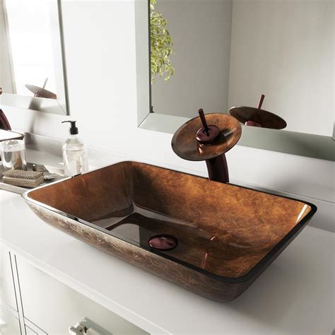 Vigo Russet Glass Vessel Bathroom Sink And Waterfall .
