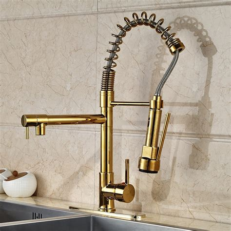 Venezuela Gold Finish Kitchen Sink Faucet With Pull Down .