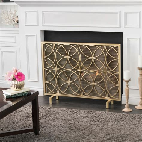 Veritas Single Panel Black Iron Fireplace Screen   Gdf Studio.