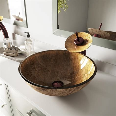 Vigo Glass Vessel Sink In Amber Sunset With Faucet In Oil .