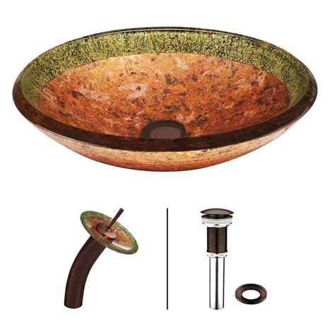 Vigo Janus Glass Vessel Sink And Waterfall Faucet Set In Oil Rubbed Bronze Features Video.