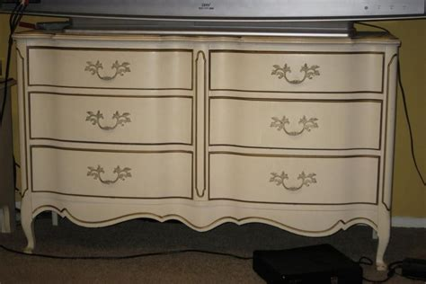 Vintage White Dresser With Gold Trim