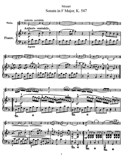 [pdf] Violin Sonata In F Major K 547 Mozart .