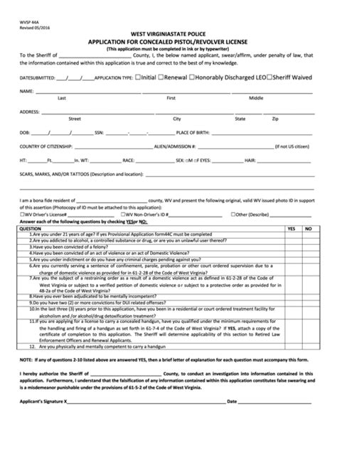 [pdf] West Virginia State Police Application For Concealed .
